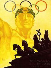 Sport anuncio 1936 Juegos Olímpicos de Berlín Anillos Caballo Estatua cartel impresión lv7459