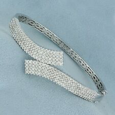 4.13 Carat Sparkling Cubic Zirconia Bypass Style Bangle Bracelet In 925 Silver