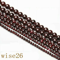 Natural Red Round Garnet Gemstone Loose Spacer Beads 15.5'' 4/6/8/mm