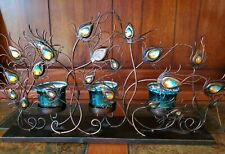 Teal Blue Turquoise Gold PEACOCK Feather Sculpture Art Tea Light Holder