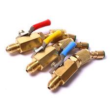 3X 1/4'' SAE A/C Charging Hoses Shut Off Ball Valve AC Refrigerant R12 R22 R134a