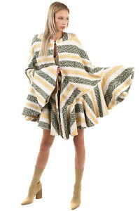 RRP €325 AMUCK Tweed Cape Coat One Size Ruffle Partly Lined Striped Lame Trim