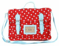 Ladies Red Fabric Satchel Laptop Bag With Blue Polka Dot