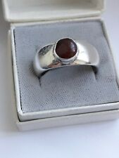 Heavy Sterling Silver Band Ring with Cabachon Carnelian. His/Hers. (7.87g!)