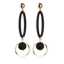 Long Drop Earrings Gold Black Statement Party Dangle Round Big Geometric Elegant