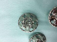 Magnifique lot 3 gros Bouton Bijoux Neuf turquoise et strass blanc