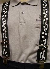 """Suspenders 2""""x48"""" FULLY Elastic Music Notes NEW White on Black"""