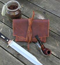 Legendary Saxon Tan Leather Tobacco Pipe Pouch 5 X 8 Made In USA By Seller
