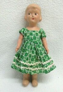 """Vtg Composition Doll Plastic Jointed Arms Frozen Charlotte 6"""""""