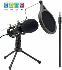 Professional Condenser Recording Microphone 3.5mm Plug and Play Pc Broadcast