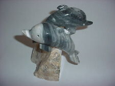 Dolphin Statue Hand Carved Grey Marble/Onyx on Base Two Dolphins
