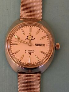 Vintage Men Wrist Watch HMT Rajat Silver Color 21J Automatic Day & Date