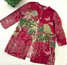 CITRON SANTA MONICA Floral Tunic Top XL Multi-Color Silk Linen Blend 3/4 Sleeves