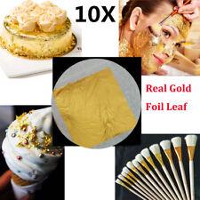 "10x Gold Foil Leaf 99.99% Pure 24K Food Decor Edible Face Beauty Gilding 1.7"" WW"