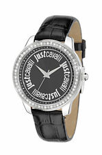 Just Cavalli Women's R7251196502 Shiny Crystals Black Dial Black Leather Watch