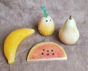 Vintage Stone Decorative Fruit Alabaster Watermelon Banana Pineapple Pear