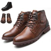 Mens Leather Snow Boots Vintage Lace Up Ankle Casual Combat Hiking Winter Shoes