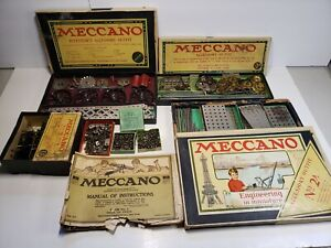 Meccano 1920's Lot Playsets - Parts - Instructions - Motor