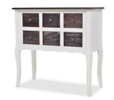 White Console Table Cabinet 6 Drawers Hallway Office Bedroom Living Room Curved