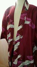 "Marukyo Kyoto-Vtg  Kimono Robe BURGUNDY WINE CRANE  Mitsukoshi- Sz.LG - 35"" Long"