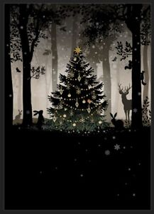 Bug Art Christmas card embossed foil/jewel effect 'Woodland Gathering SINGLE