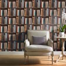 Grandeco Ideco Library Books Realistic Book Shelf Mural Wallpaper