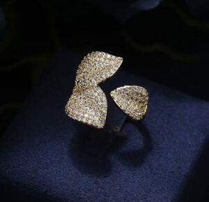 18k White Gold GP Leaf Adjustable Ring made w Swarovski Crystal Stone Bridal