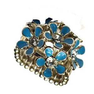 Designer Ring mit blauen Blumen flowers  Universalgröße NEU