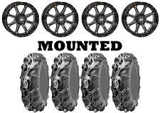 Kit 4 ITP Mega Mayhem Tires 27x9-12/27x11-12 on STI HD4 Gloss Black Wheels IRS