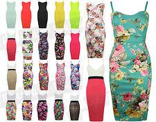 Ladies Celebrity Tropical Print Bodycon Midi Dress Hawaiian Womens Jade Garden