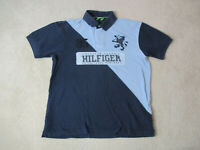 VINTAGE Tommy Hilfiger Polo Shirt Adult Large Blue Spell Out Lion Crest 90s *