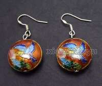 SALE Fashion 18mm Round Red Cloisonne Beads Dangle 1.5'' earring-ear585