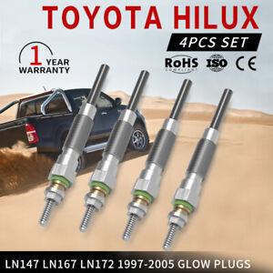 4PCS Glow Plugs For Toyota Hilux LN147 LN167 LN172 1997-2005 3.0L 5L 5L-E