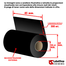 Ribbon indelebile tessile H 45 mm x 300 m. ink out  - Nastro carbongrafico a bas