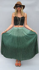 Vintage INDIA Gauze GREEN METALLIC OMBRE Boho Hippie Festival Dress SKIRT M/L