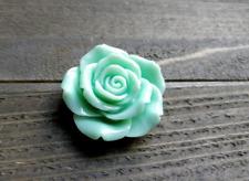 Large Flower Cabochon Flatback Mint Green Rose Resin Flower 45mm Big Flatback