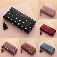 Women Ladies Leather Long Wallet Tassel Zipper Clutch Phone Card Money Bag