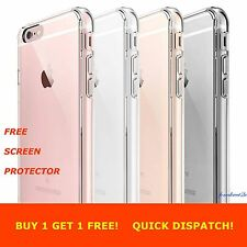 For Apple iPhone 6 6S Clear Back TPU Gel Case Cover & Free Screen Protector x 2