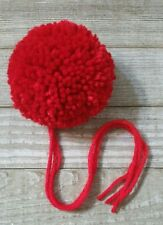 Red rouge large 3 inch 4 ply yarn pom pom for hats crochet knit handmade new
