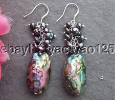 Black Pearl Abalone Shell Earrings-925  Sliver Hook