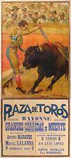 AFFICHE RUANO LLOPIS 1927 GRANDES CORRIDAS de MUERTE BAYONNE PLAZA DE TOROS