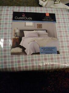 BRAND NEW Cuddl Duds Heavyweight Flannel QUEEN Sheet Set PURPLE/BLUE CHECK