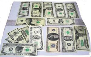 GRAB BAG OF 50 ASSORTED FAKE MONEY NOVELTY DOLLAR BILLS trick joke prank bill