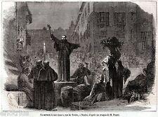 NAPOLI: Predica in via Toledo.Costumi.Regno delle Due Sicilie.Stampa Antica.1860