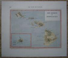 1873 map of HAWAII ISLANDS (#220)