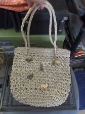 Jute summer tote wooden animal charms flat bottom Lined with pocket rattan Purse