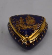 Limoges Very Small Trinket Cobalt Triangle Courting Couple