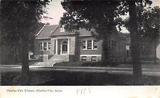 Charles City IA Carnegie Library~Pillar & Stone Entryway c1908 B&W