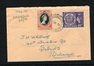 1953 QEII Northern Rhodesia Coronation & Exhibition stamps on FDC to Bulawayo