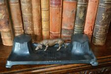 Antique German Art Deco Dual Pots Inkwell Dog Dachshund